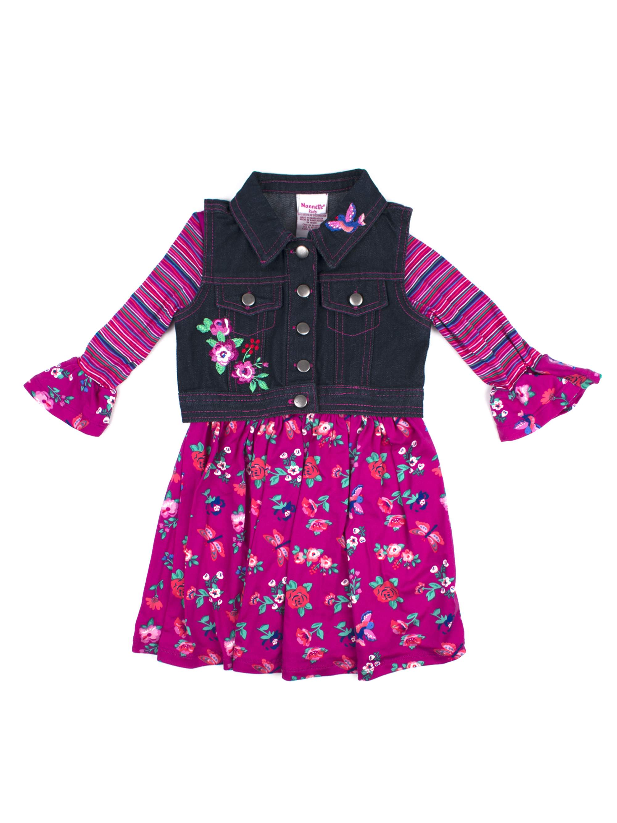 Printed Jersey Dress and Embroidered Denim Vest 2-Piece Set (Little Girls)