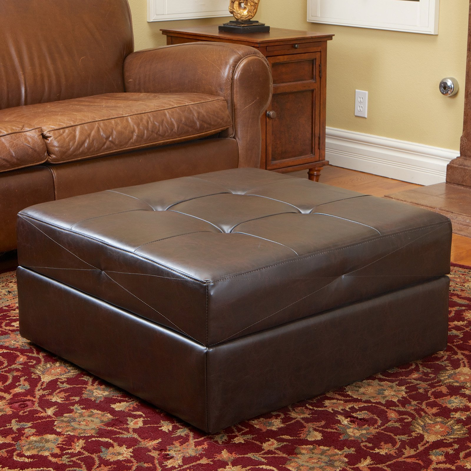 Captivating Burlington Brown Leather Storage Ottoman