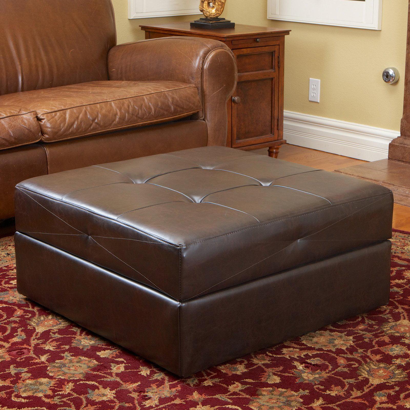 Burlington Brown Leather Storage Ottoman