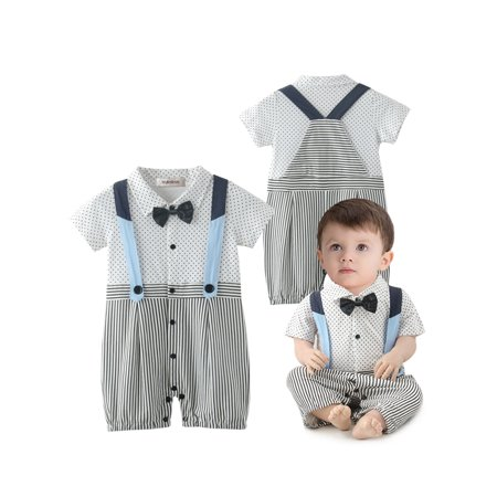 Stylesilove Baby Boy Dots And Stripes Faux Suspender Overalls Romper 3 6 Months