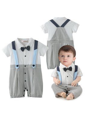 9ef5f9c02312 Product Image StylesILove Baby Boy Dots and Stripes Faux Suspender Overalls  Romper (3-6 Months)