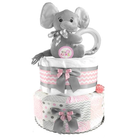 Elephant Diaper Cake for a Girl - Pink and Gray Baby Shower Centerpiece - 42 stage 1 Pampers Swaddlers Diapers (Pink Gray Elephant Baby Shower)