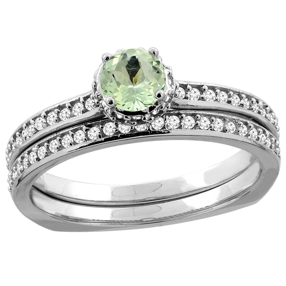 14K White Gold Diamond Natural Green Amethyst 2-pc Bridal Ring Set Round 4mm, sizes 5 10 by WorldJewels