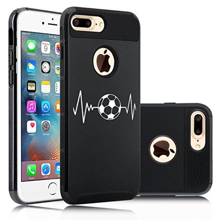 For Apple iPhone (7 Plus) Shockproof Impact Hard Soft Case Cover Heart Beats Soccer