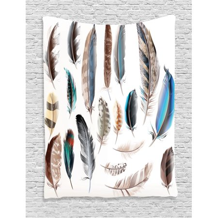 Feathers Tapestry Western Feather Setting Pigmented Bird Body Parts Growth Nature Artistic Design Wall Hanging For Bedroom Living Room Dorm Decor