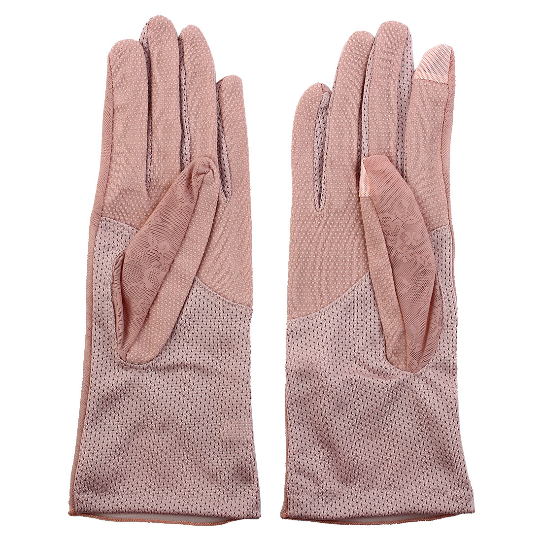 Outdoor Travel Cycling Driving Flower Decor Sun Resistant Gloves Pink Pair by