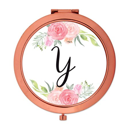 Mirror Perch - Andaz Press Compact Mirror Bridesmaid's Wedding Gift, Rose Gold, Monogram Letter Y, Peach and Pink Roses, 1-Pack