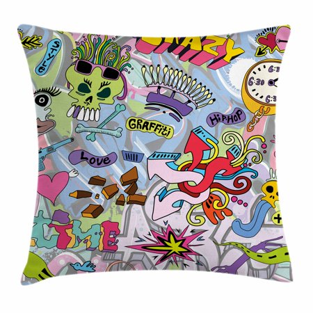 Art Throw Pillow Cushion Cover, Hip-Hop Inspired Colorful Graffiti Doodle Crazy Love Time Cool Skull Street Art Print, Decorative Square Accent Pillow Case, 18 X 18 Inches, Multicolor, by Ambesonne - Cool Doodles