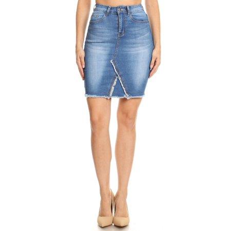 Women's Juniors Above Knee Length Frayed Stretch Denim Skirt