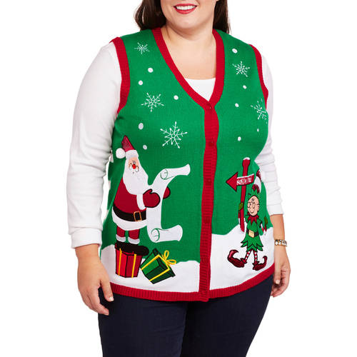 Holiday Time Women's Plus North Pole Santa Christmas Sweater Vest