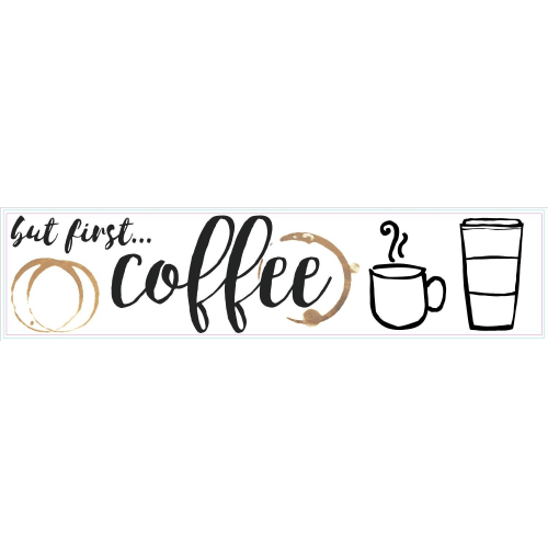 York Wallcoverings RMK3654SCS RoomMates 5 Piece But first Coffee Quote Repositionable Peel and Stick Wall Decals