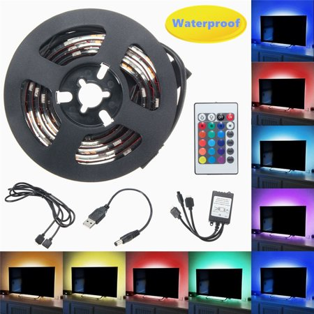 2PCS 50cm USB LED Strip Night Light RGB Bias Background Lighting TV Backlight Remote for TV HDTV PC Home Decor Computer