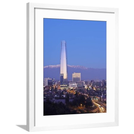 Twilight view from the Parque Metropolitano towards the high raised buildings with Costanera Center Framed Print Wall Art By Karol Kozlowski