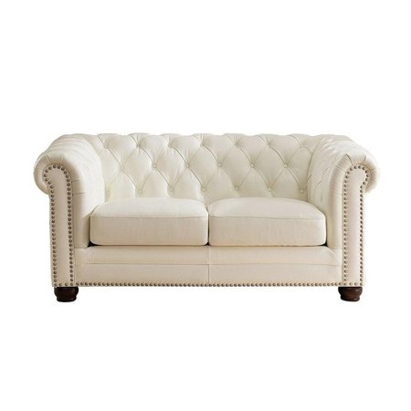 - Luxury Pearl White Top Grain Leather Loveseat Amax Leather Monaco