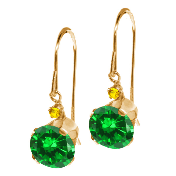 3.06 Ct Round Green Simulated Emerald Yellow Sapphire 14K Yellow Gold Earrings