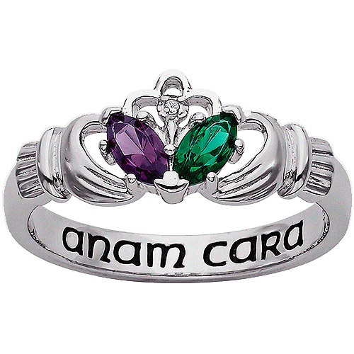 Personalized Couple's Birthstone and Diamond Accent Sterling Silver Claddagh Ring