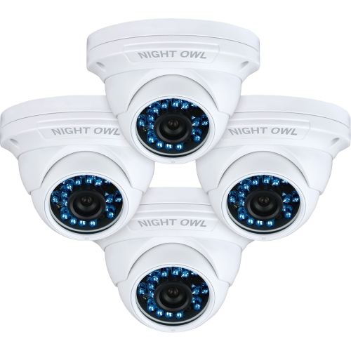 Night Owl Security 4PK Hi-Resolution 900 TVL Security Dome Cameras with 75-Feet of Night Vision