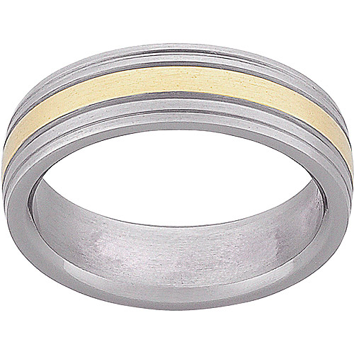 Men's Titanium Two-Tone Wedding Band, 6mm
