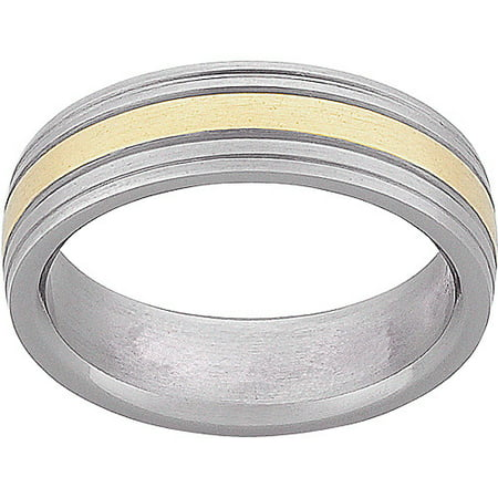 mens titanium two tone wedding band
