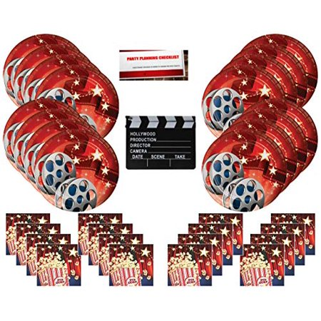 Hollywood Movie Party Supplies Bundle Pack for 16 guests (Bonus 7 Inch Movie Set Clapboard Plus Party Planning Checklist by Mikes Super Store)](Nearest Party Stores)