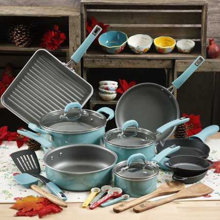 The Pioneer Woman Turquoise Cookware Set 30 Piece Walmartcom