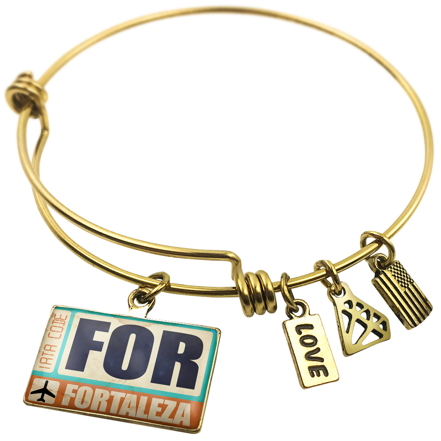 Expandable Wire Bangle Bracelet Airportcode FOR Fortaleza - NEONBLOND