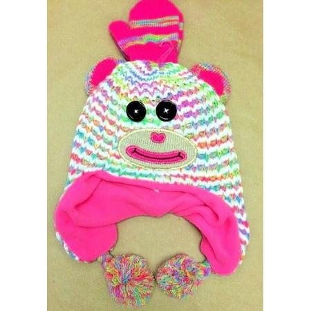 Capelli New York Girl's Monkey Knit Earflap Hat & Magic Glove 2pc set (Infant) - Monkey Hats