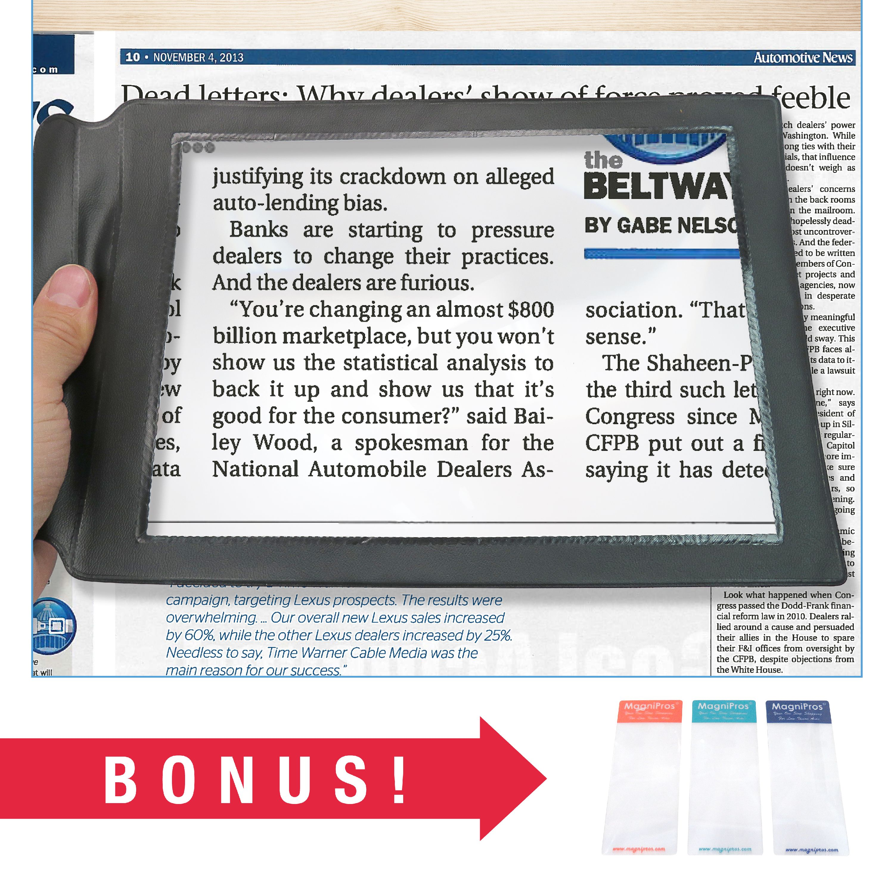 MagniPros Large Full Page Magnifier Magnifying Sheet with Bonus Bookmark Magnifier- Magnifies Entire Page