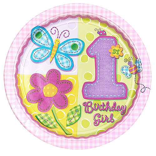 1st Birthday Girl Hugs & Stitches Large Paper Plates (8ct)
