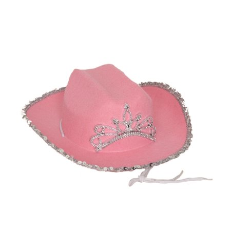 Chidl Girls Pink Cowboy Cowgirl Hat w/ Silver Sequin Tiara Costume Accessory
