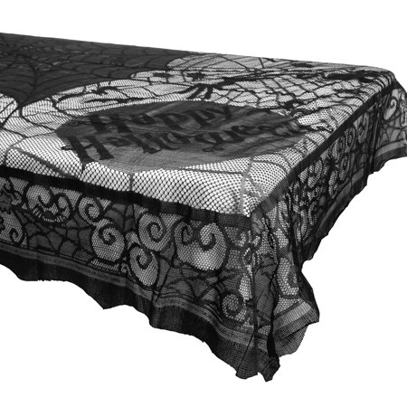 Black Midnight Lace Spider Web & Bats Tablecloth 58x80 Halloween Home Party Decorations Dcor