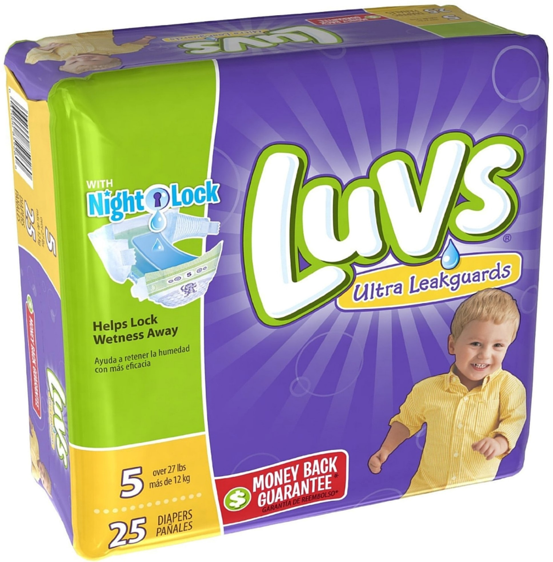 Luvs Ultra Leakguards Diapers with Night Lock, Size 5 25 ...