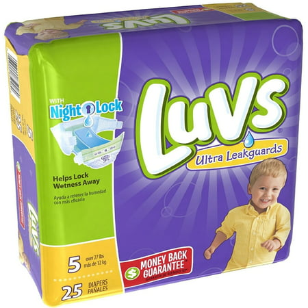 Luvs Ultra Leakguards Diapers With Night Lock  Size 5 25 Ea  Pack Of 6