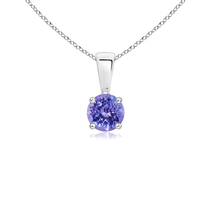 Angara Round Tanzanite Necklace Pendant for Women in Platinum QKxYCb3L5