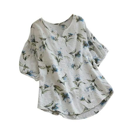 Fashion Women Floral Long T Shirts V Neck Tops Shirt Casual Loose Blouse