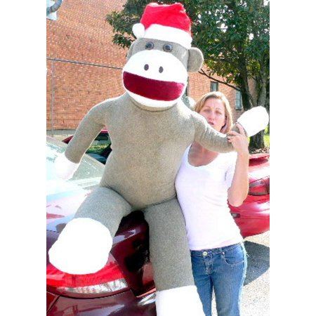 American Made Giant Sock Monkey Dressed for Christmas 6 Feet Tall wearing Santa Hat Stuffed Soft Made in USA