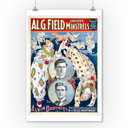 Al G Field Minstrels - Alvin Brothers Vintage Poster USA c. 1908 (9x12 Art Print, Wall Decor Travel Poster)