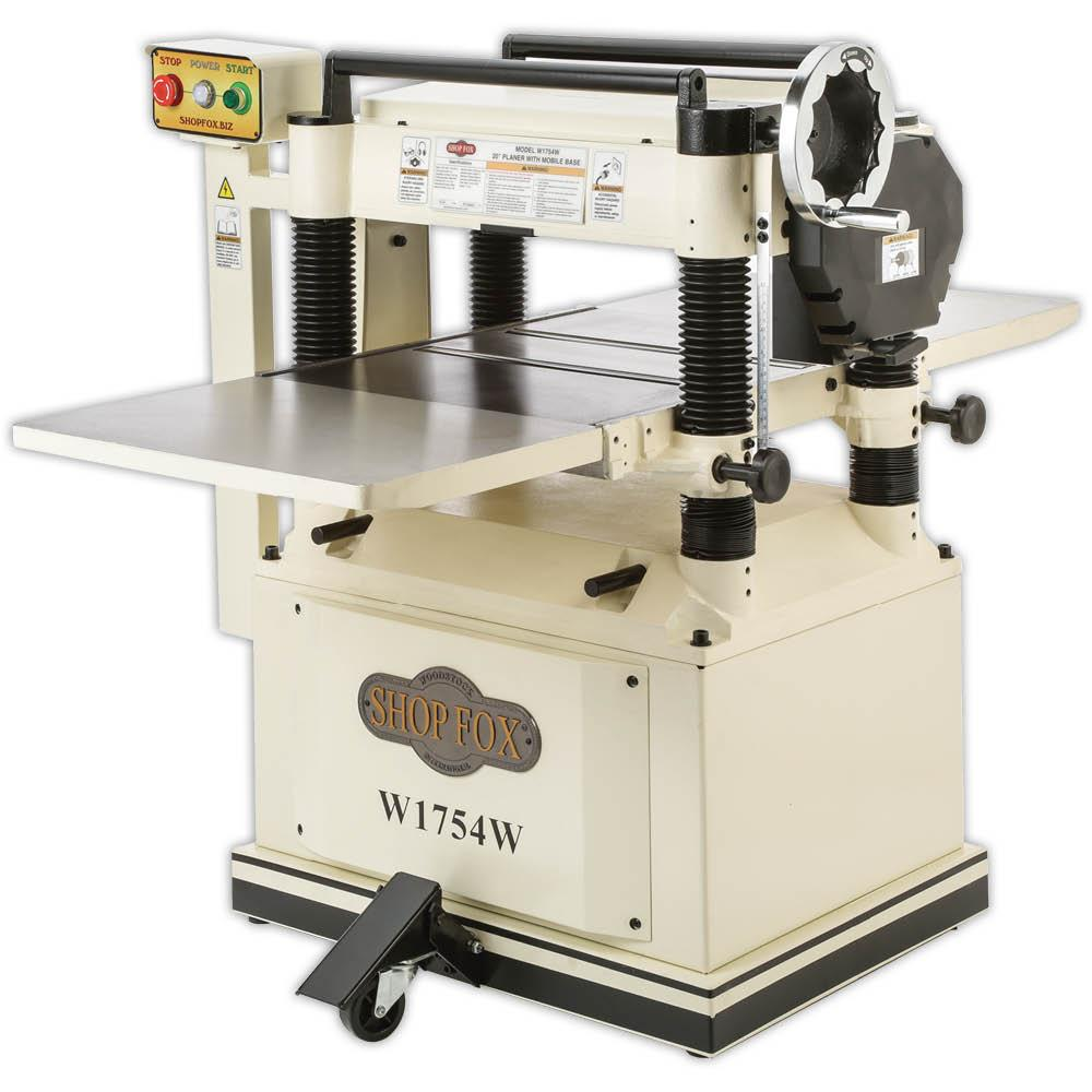 """Shop Fox W1754W 20"""" Planer with Built In Mobile Base with Magnetic Safety Switch"""