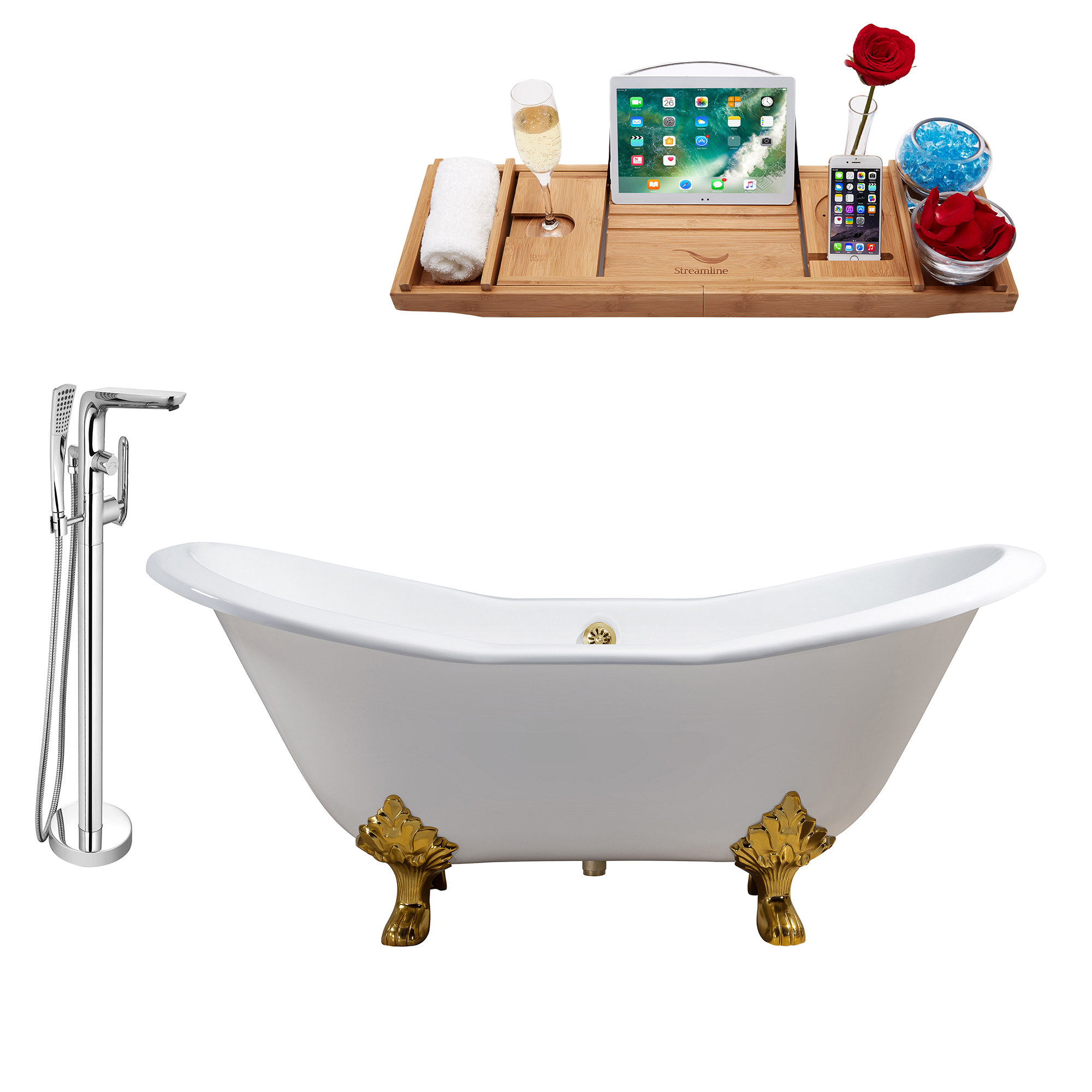 "Cast Iron Tub, Faucet and Tray Set 67"" RH5380GLD-120"