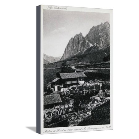 Center Postcard - Mills of Pecol, Postcard, Canazei, Trentino-Alto Adige, Italy, 20th Century Stretched Canvas Print Wall Art