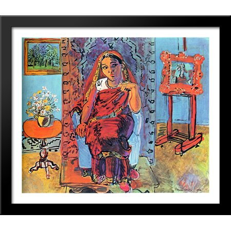 - Interior with Indian Woman 32x28 Large Black Wood Framed Print Art by Raoul Dufy