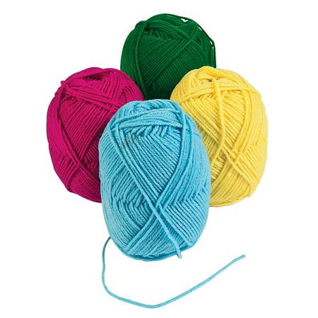 Fun Express - Acrylic Primary Yarn (4pc) - Craft Supplies - Bulk Craft Accessories - Felt & Fabrics - 4 Pieces