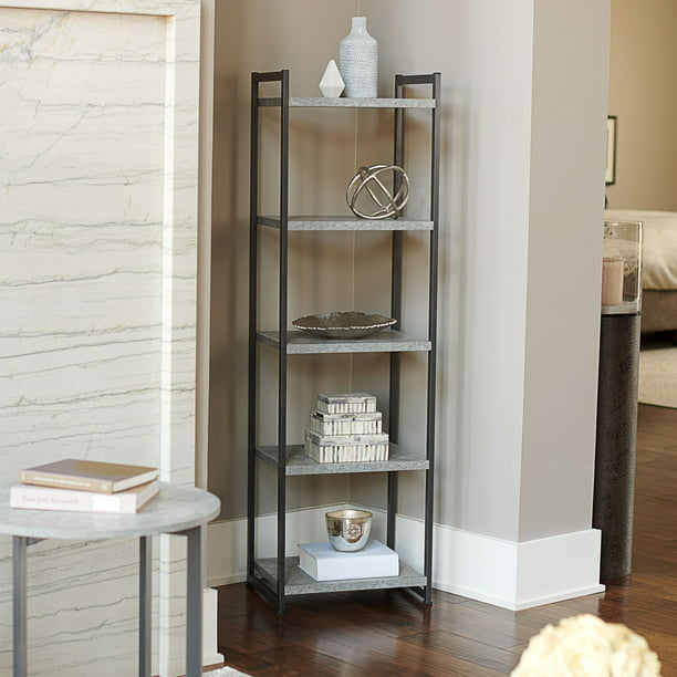 Household Essentials 5-Tier Tall and Narrow Decorative Item Display Bookshelf, Faux Gray Slate