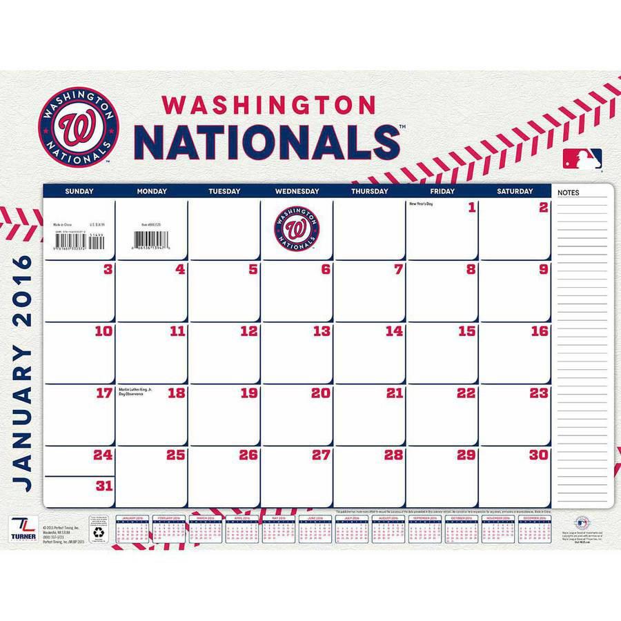 Turner Washington Nationals 2016 22 X 17 Desk Calendar Walmart Com