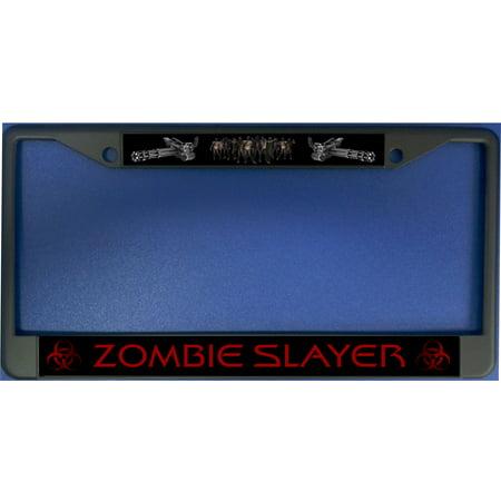 Zombie Slayer Black License Plate Frame (Zombie Sale)