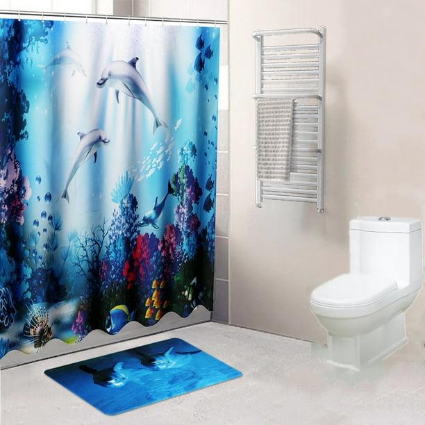 Sea Dolphin Shower Curtain Fish Colorful Coral Bathroom Curtains Polyester Waterproof Bathroom Decor Set With Hooks Walmart Com Walmart Com
