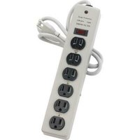 Compucessory 6-Outlet Metal Power Strip - 6 - 6 ft Cord - 15 A Current - 125 V AC Voltage - Strip - Light Gray