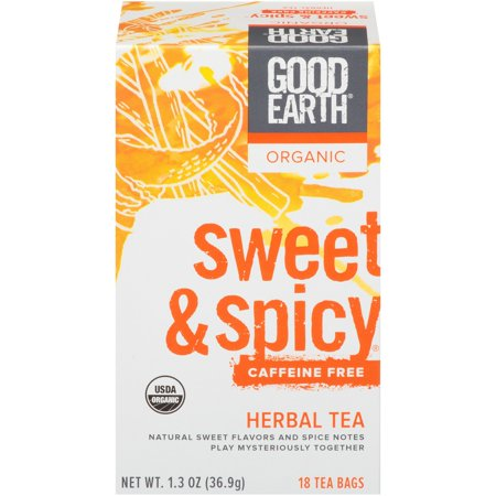 Good Earth Herbal Tea, Organic, Sweet & Spicy, Caffeine Free, Bags, 18 CT (Pack of