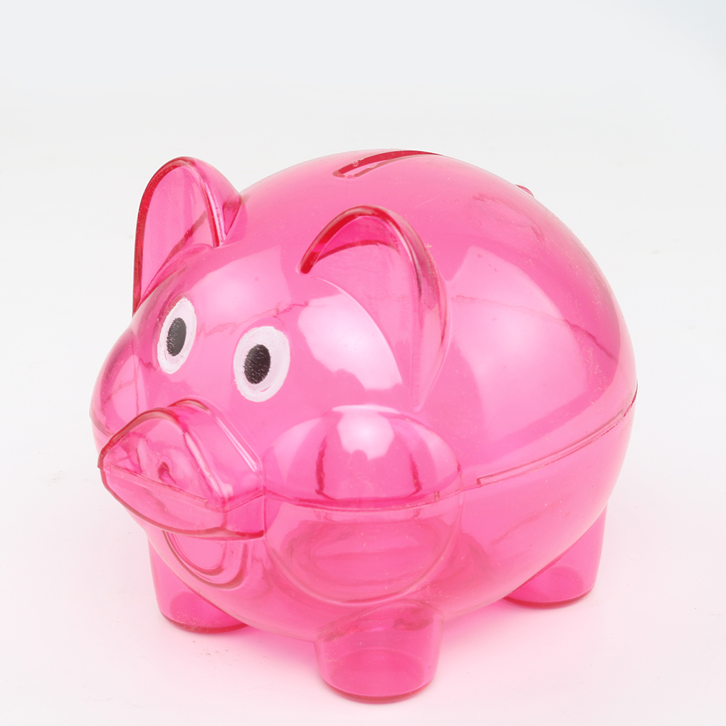 Meisijia Transparent Plastic Money Saving Box Case Coins Piggy Bank Cartoon Pig Shaped