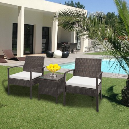 Zimtown 3PC Outdoor Patio Garden Wicker Furniture Rattan Sofa Set with Cushions ()